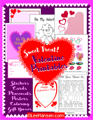 Valentine printables, paper crafts, coloring pages