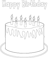 Happy birthday cake coloring poster