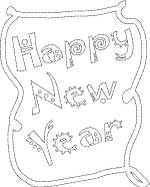 Happy New Year coloring page with bubble letters and frame border, LeeHansen.com