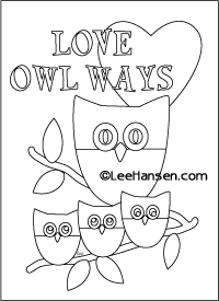 Love Owl Ways printable coloring card