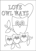 love owl ways cute coloring card