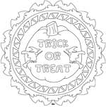 Trick or treat adult coloring mandala