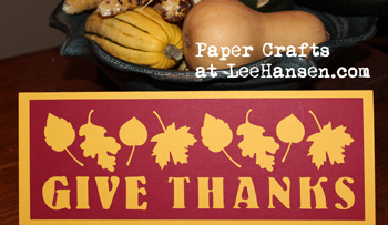 Give Thanks die cut template greeting card printable