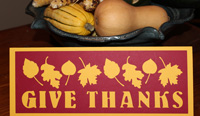 Give Thanks papercraft card or table decoration, LeeHansen.com