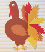 Thanksgiving card, paper craft turkey front