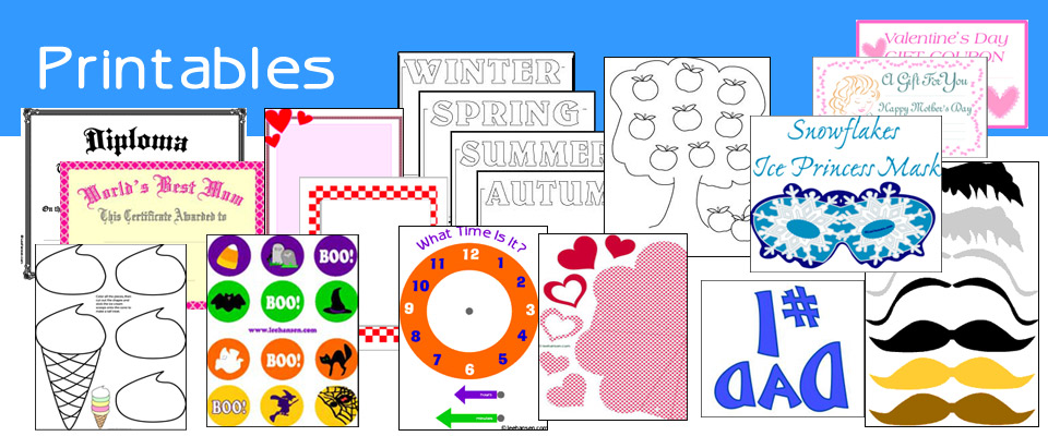 Printables and crafts for home, school , office or club