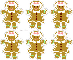gingerbread girl cookies printable gift tags, stickers, toothpick flags