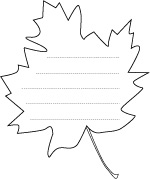 Maple Leaf shape paper with lines for writing, LeeHansen.com
