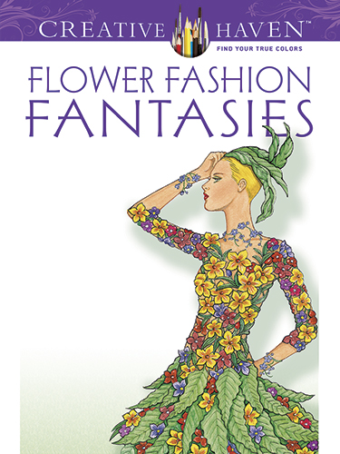 Flower fantasy fashion coloring book for adults or teens