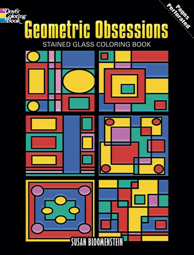Obsessions geometric stained glass design coloring book
